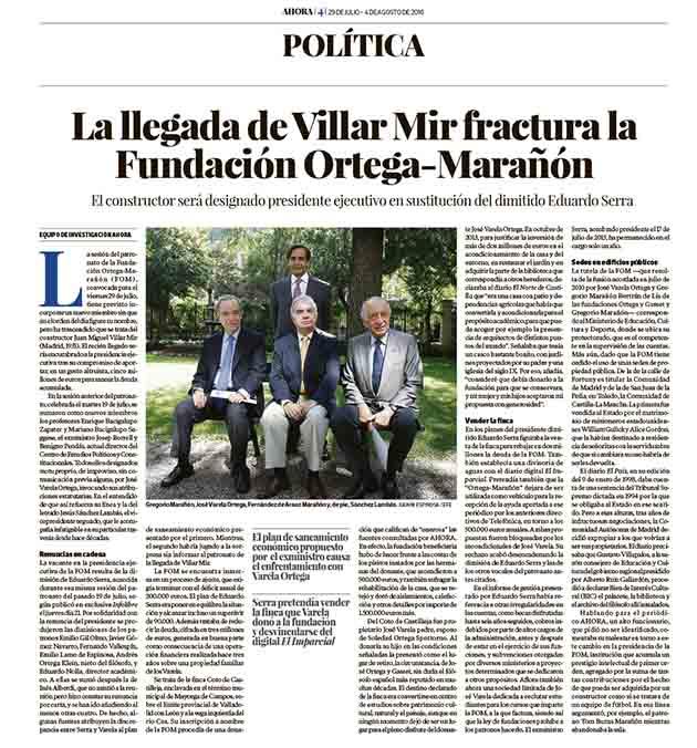 La llegada de Villar Mir a la FOM se retrasa